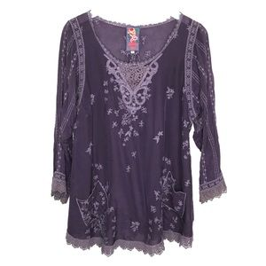 Johnny Was Embroidered Floral Tunic Top Boho M